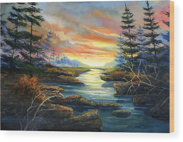 Landscape Wood Print featuring the painting Sunset Creek by Brooke Lyman