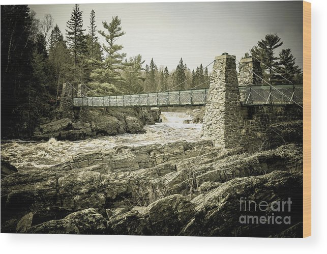 Shining Wood Print featuring the photograph Swinging Bridge of Jay Cooke State Park by Chellie Bock
