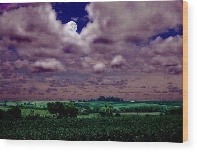 Landscape Wood Print featuring the photograph Tarkio Moon by Steve Karol