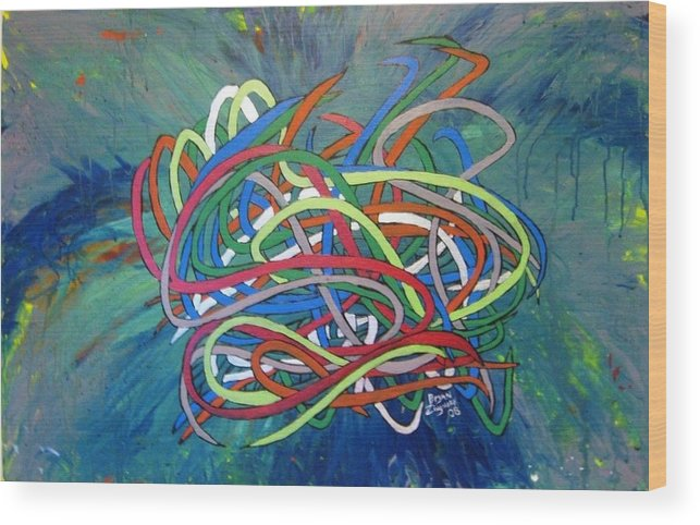 Abstract Wood Print featuring the painting Tentacles by Bryan Zingmark