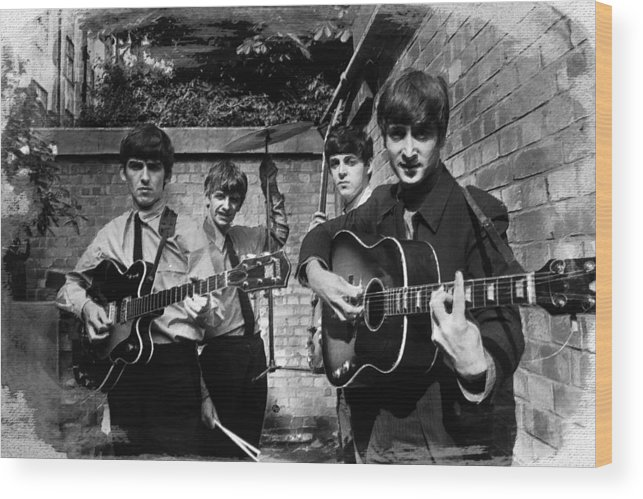 The Beatles Wood Print featuring the painting The Beatles In London 1963 Black And White Painting by Tony Rubino