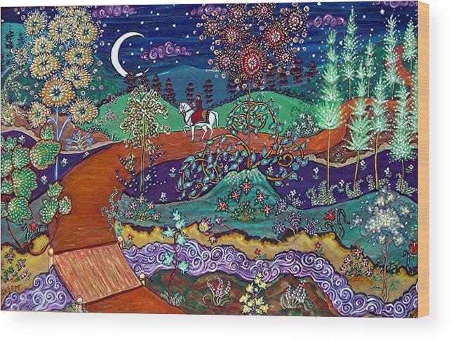 Night Wood Print featuring the painting The Return by Caroline Eve Urbania