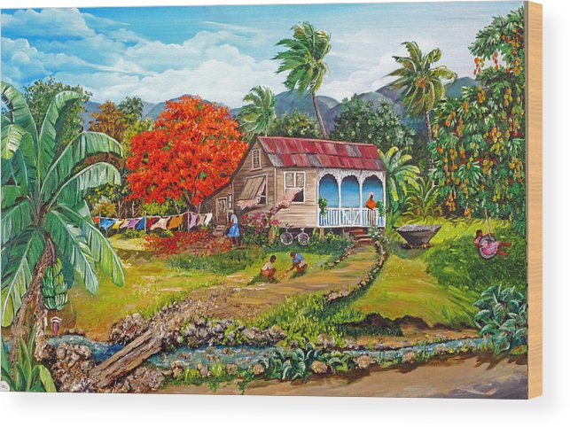 Tropical Scene Caribbean Scene Wood Print featuring the painting The Sweet Life by Karin Dawn Kelshall- Best
