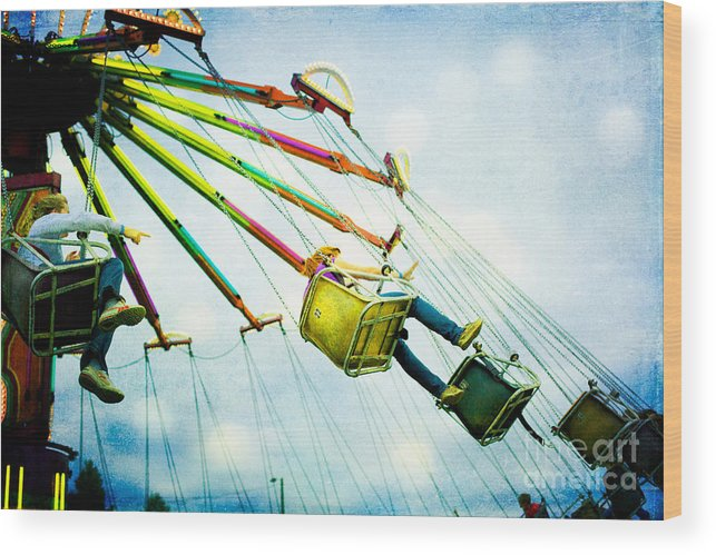 Carnival Wood Print featuring the photograph The Swings by Kim Fearheiley