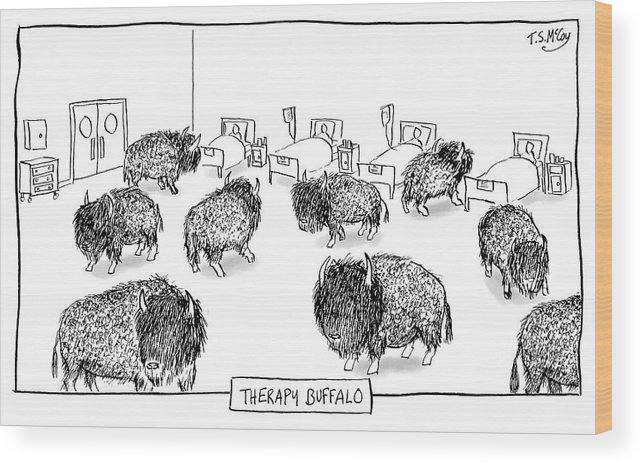 Therapy Buffalo Wood Print featuring the drawing Therapy Buffalo by The Surreal McCoy