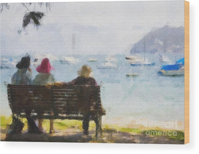 Impressionism Impressionist Water Boats Three Ladies Seat Wood Print featuring the photograph Three ladies by Sheila Smart Fine Art Photography