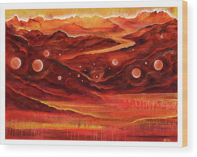 Red Rocks Wood Print featuring the painting Timeless by Lily Nava