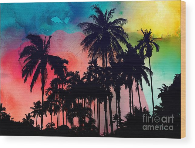 Wood Print featuring the painting Tropical Colors by Mark Ashkenazi