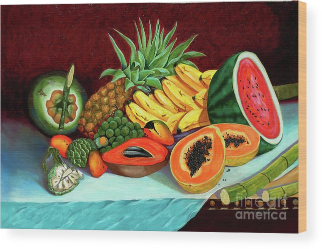 Coconut Wood Print featuring the painting Tropical Fruits by Jose Manuel Abraham