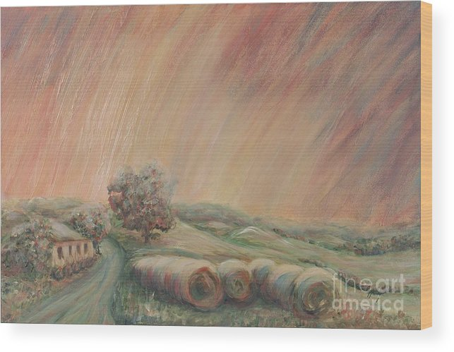Landscape Wood Print featuring the painting Tuscany Hayfields by Nadine Rippelmeyer