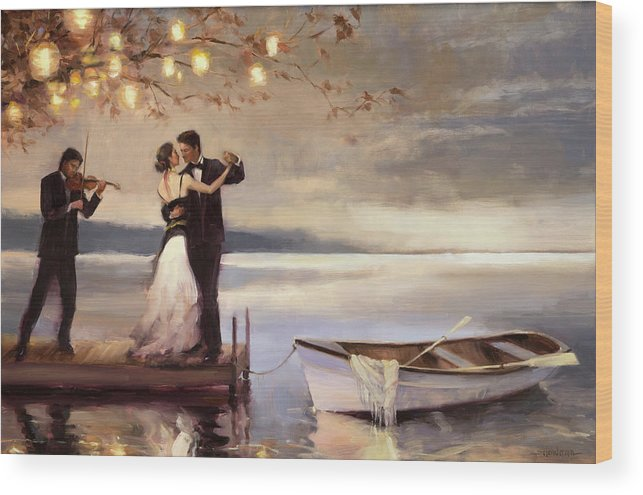 Romantic Wood Print featuring the painting Twilight Romance by Steve Henderson
