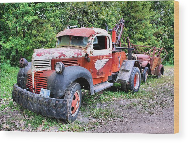 Old Truck Wood Print featuring the photograph Two for One by Kristin Elmquist