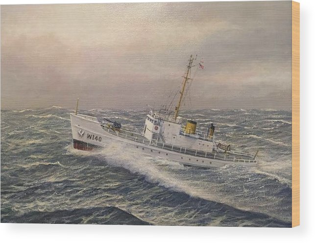 Coast Guard Wood Print featuring the painting U.. Coast Guard Cutter General Greene 2 by William H RaVell III