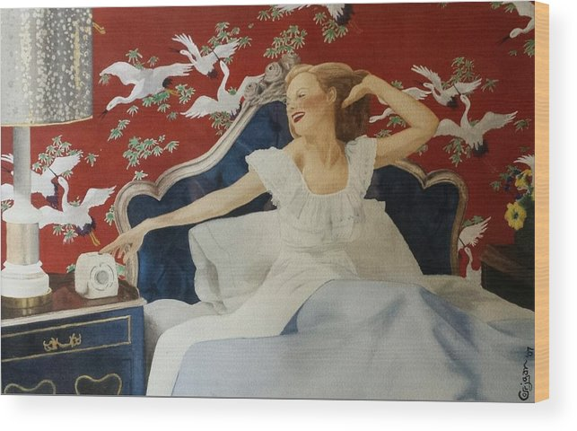 Portrait Wood Print featuring the painting Rise And Shine by David Corrigan