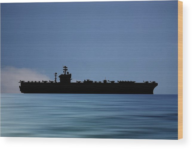Uss Abraham Lincoln Wood Print featuring the photograph USS Abraham Lincoln 1988 v4 by Smart Aviation