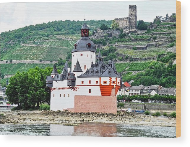 Rhine River Wood Print featuring the photograph Vertical Vineyards and Buildings on the Rhine by Kirsten Giving