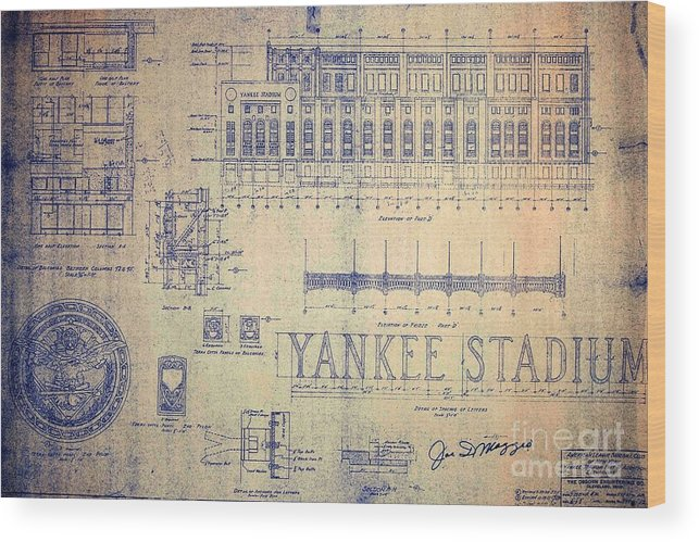 Joe Dimaggio Wood Print featuring the drawing Vintage Yankee Stadium Blueprint by Peter Ogden Gallery