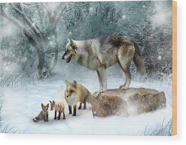Wolf Wood Print featuring the digital art Vladimir Vanessa and the Vixens by Julie L Hoddinott