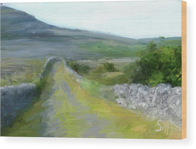 County Clare Wood Print featuring the digital art Walking the Burren by Scott Waters