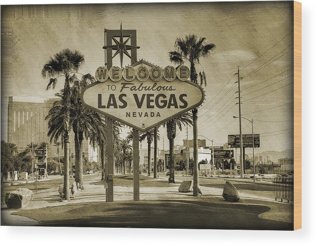 Las Wood Print featuring the photograph Welcome To Las Vegas Series Sepia Grunge by Ricky Barnard