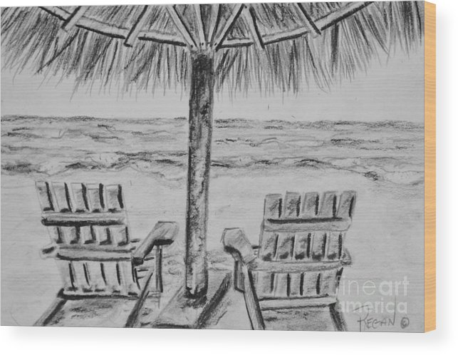 Ocean Adirondack Chairs Wood Print featuring the drawing Where I Want to Be by Regan J Smith