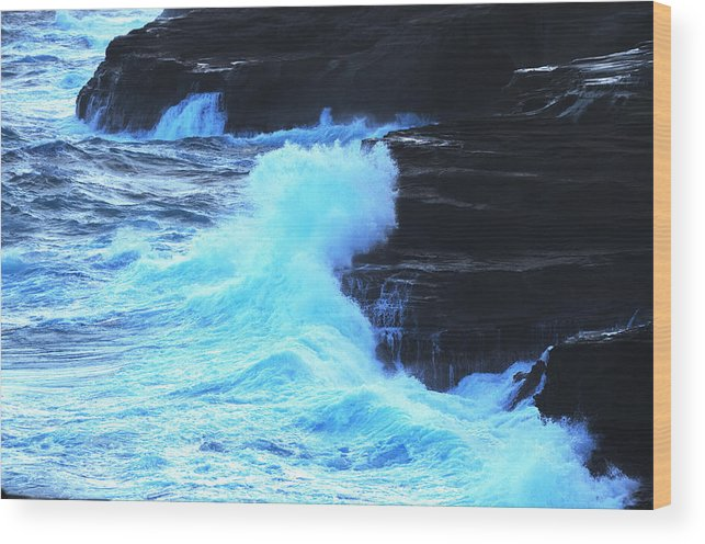 Ocean Wood Print featuring the photograph Where The Land Meets The Ocean by Richard Henne