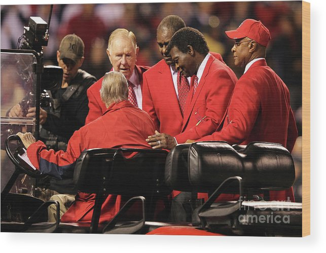Red Schoendienst Wood Print featuring the photograph 2011 World Series Game 6 - Texas by Jamie Squire