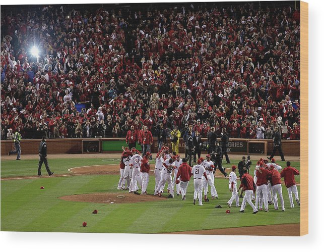 St. Louis Cardinals Wood Print featuring the photograph 2011 World Series Game 7 - Texas by Rob Carr