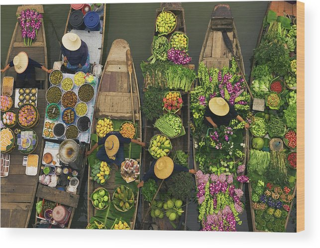 People Wood Print featuring the photograph A Floating Market On A Canal In by Mint Images - Art Wolfe