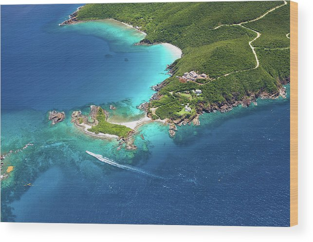 Water's Edge Wood Print featuring the photograph Aerial Shot Of West End, St. Thomas, Us by Cdwheatley
