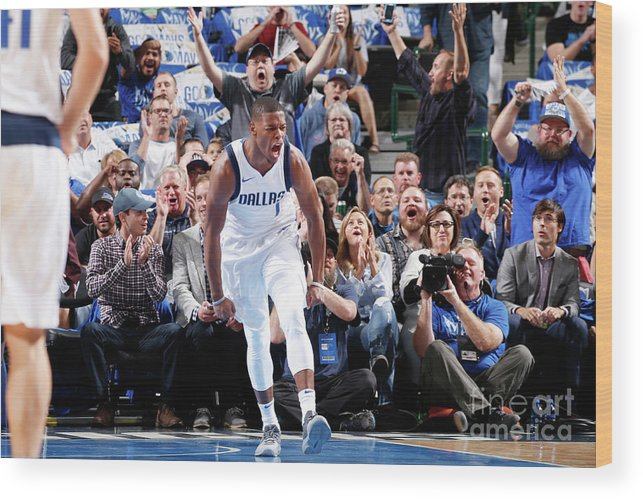 Nba Pro Basketball Wood Print featuring the photograph Atlanta Hawks V Dallas Mavericks by Glenn James