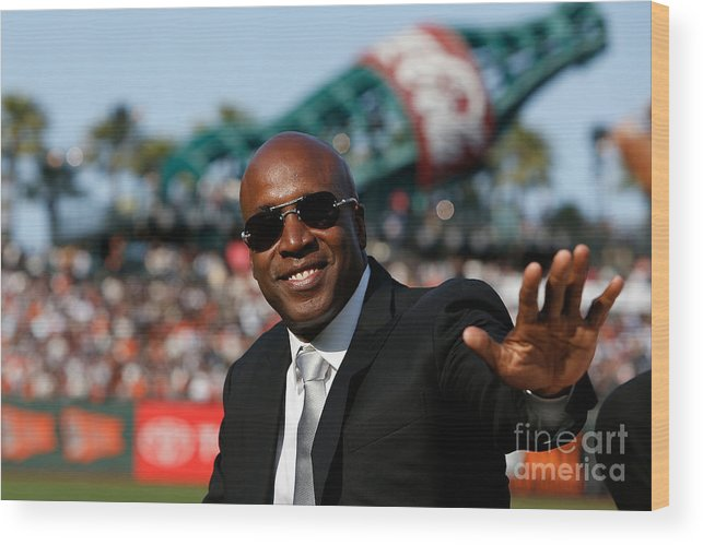 San Francisco Wood Print featuring the photograph Barry Bonds San Francisco Giants Number by Lachlan Cunningham