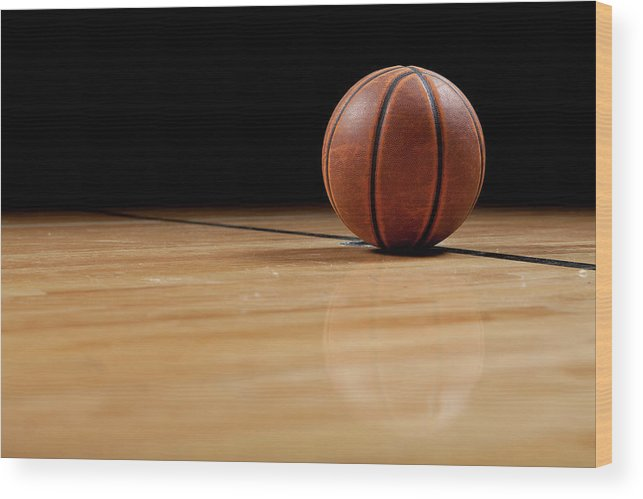 Ball Wood Print featuring the photograph Basketball by Garymilner