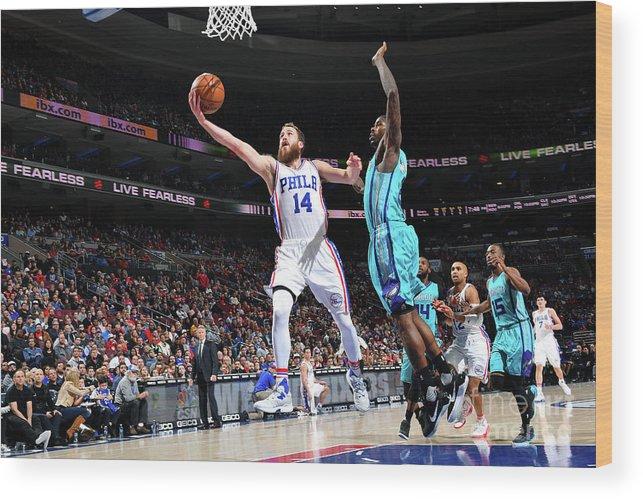 Nba Pro Basketball Wood Print featuring the photograph Charlotte Hornets V Philadelphia 76ers by Jesse D. Garrabrant