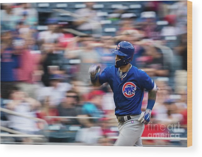 Three Quarter Length Wood Print featuring the photograph Chicago Cubs V Washington Nationals by Scott Taetsch