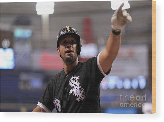 People Wood Print featuring the photograph Chicago White Sox V Tampa Bay Rays by Mike Ehrmann
