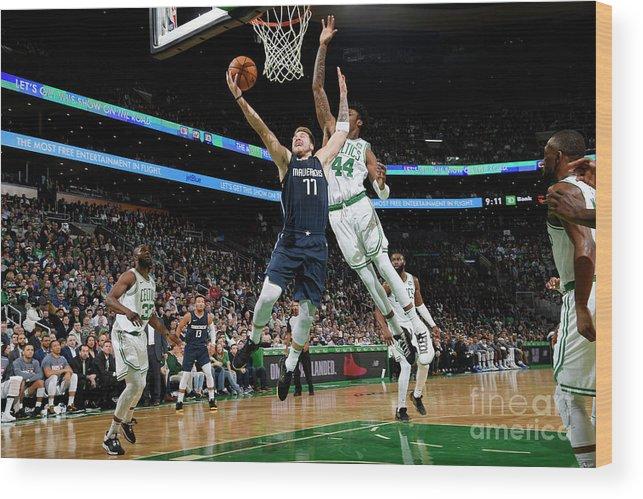 Nba Pro Basketball Wood Print featuring the photograph Dallas Mavericks V Boston Celtics by Brian Babineau