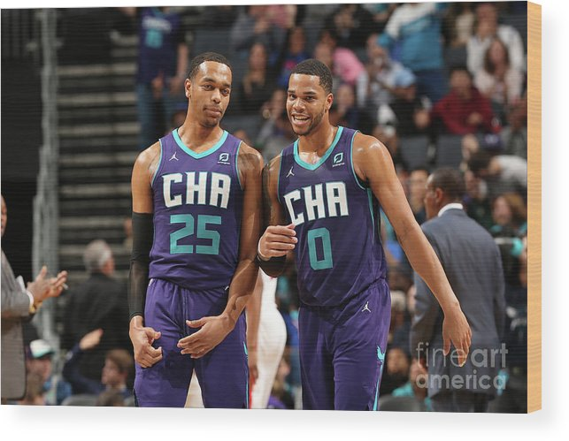 Nba Pro Basketball Wood Print featuring the photograph Detroit Pistons V Charlotte Hornets by Kent Smith