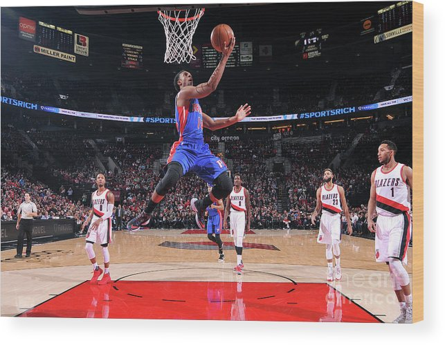 Nba Pro Basketball Wood Print featuring the photograph Detroit Pistons V Portland Trail Blazers by Sam Forencich