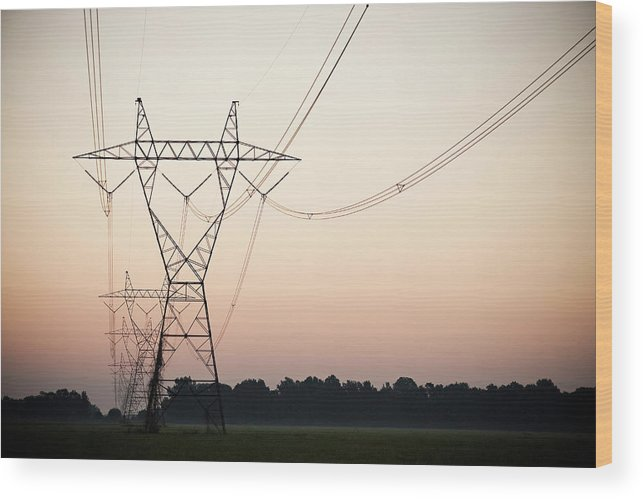 Tranquility Wood Print featuring the photograph Electrical Power Lines Against The by Wesley Hitt