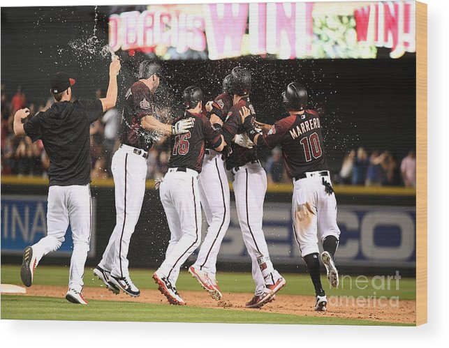 People Wood Print featuring the photograph Houston Astros V Arizona Diamondbacks by Jennifer Stewart