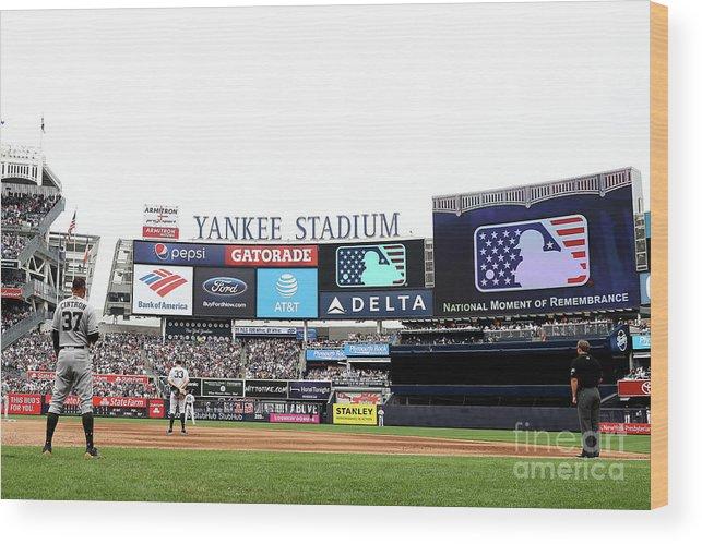American League Baseball Wood Print featuring the photograph Houston Astros V New York Yankees by Elsa