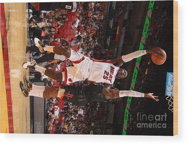 Nba Pro Basketball Wood Print featuring the photograph Houston Rockets V Miami Heat by Oscar Baldizon