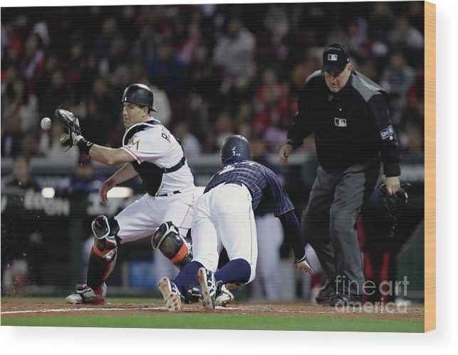 Kohsuke Tanaka Wood Print featuring the photograph Japan V Mlb All Stars - Game 4 by Kiyoshi Ota