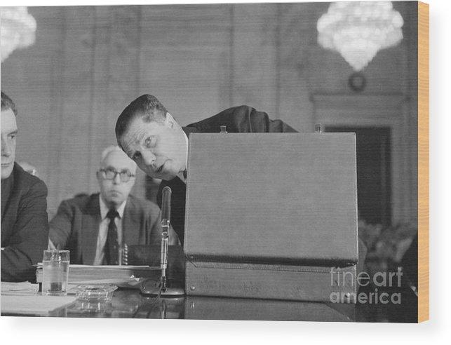 Mature Adult Wood Print featuring the photograph Jimmy Hoffa Testifying Before Senate by Bettmann