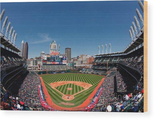American League Baseball Wood Print featuring the photograph Kansas City Royals V Cleveland Indians by Joe Robbins