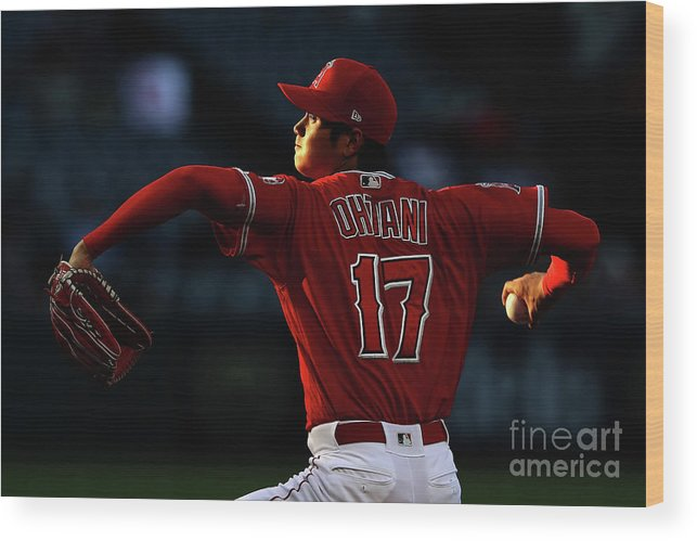 Three Quarter Length Wood Print featuring the photograph Kansas City Royals V Los Angeles Angels by Sean M. Haffey