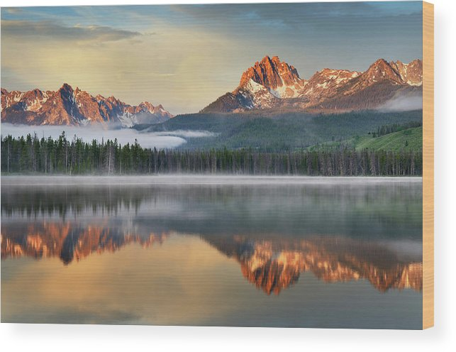 Scenics Wood Print featuring the photograph Little Redfish Lake, Sawtooth Mountains by Alan Majchrowicz