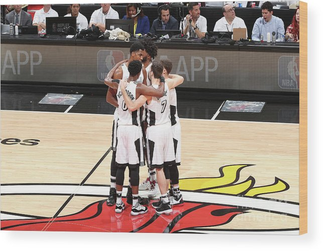 Nba Pro Basketball Wood Print featuring the photograph Los Angeles Lakers V Miami Heat by Joe Murphy