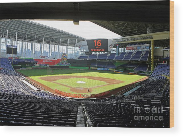 American League Baseball Wood Print featuring the photograph Miami Marlins News Conference by Joe Skipper